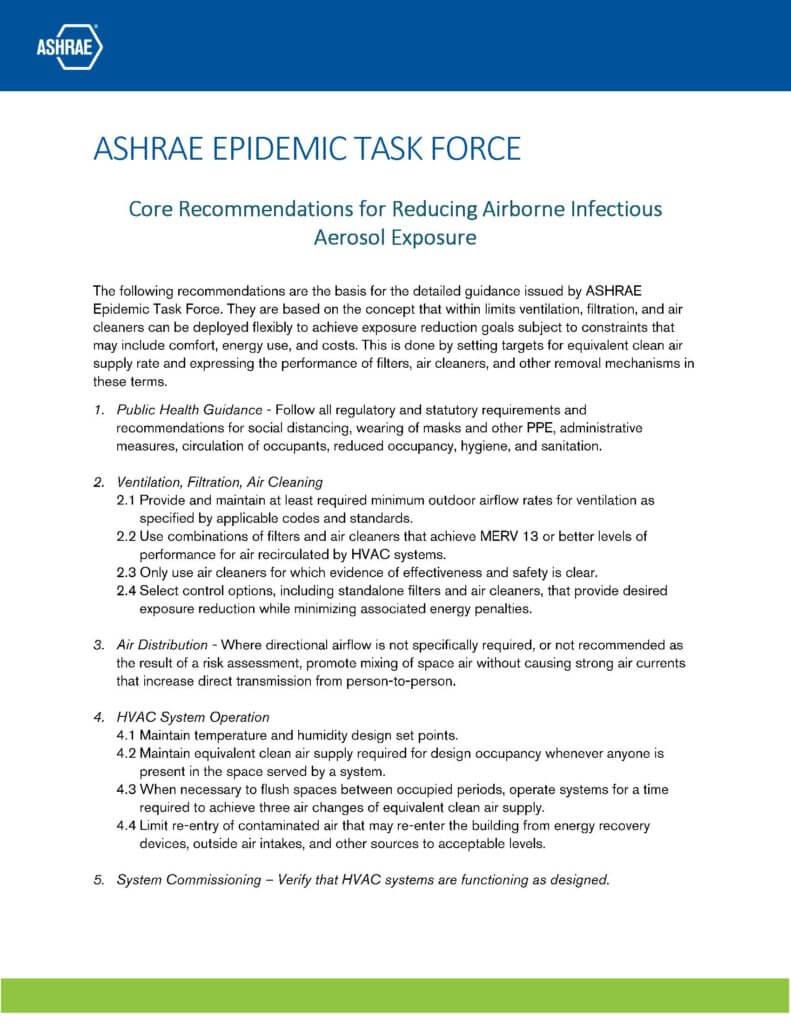 ASHRAE Core Recommendations for COVID-19