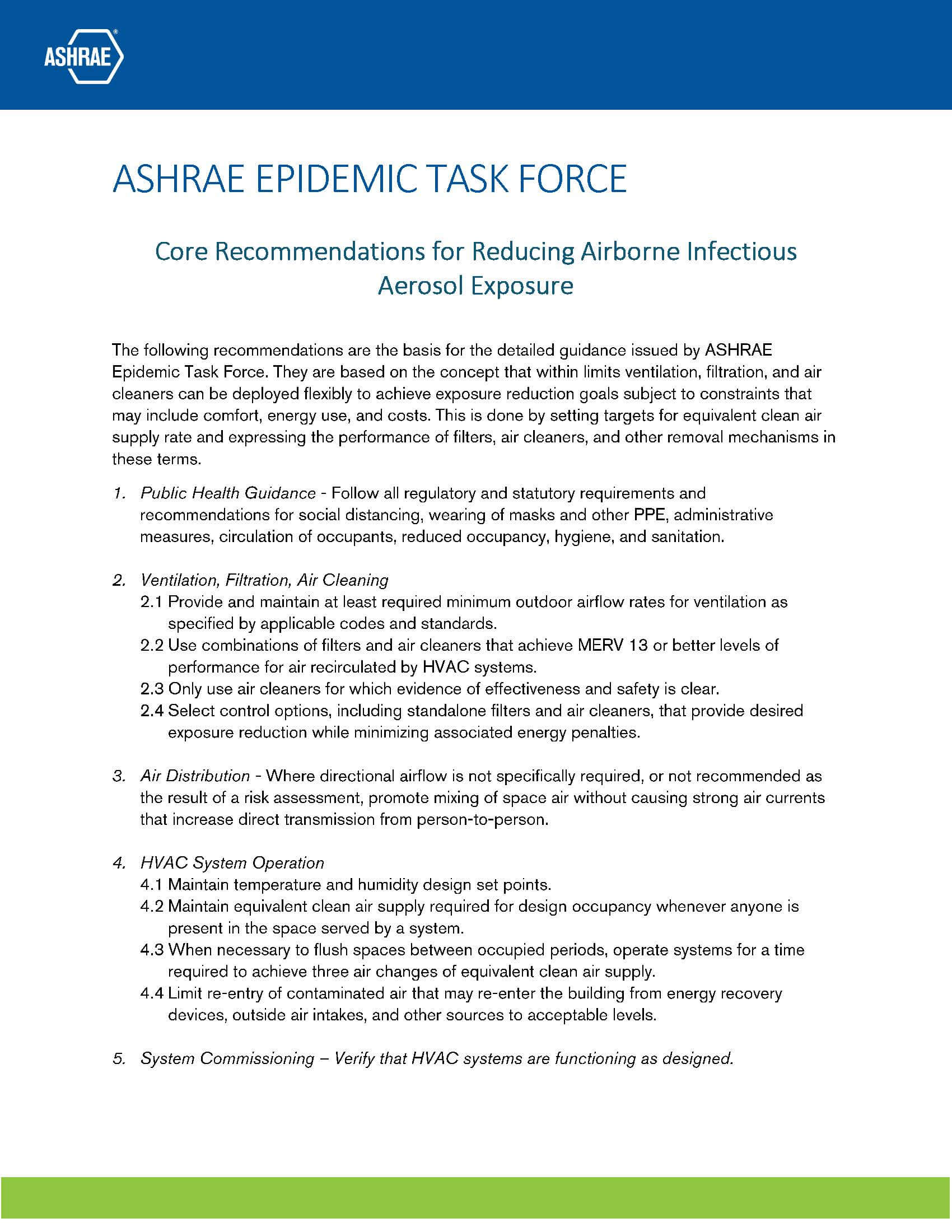 ASHRAE Core Recommendations for COVID-19